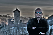 Audiobomber posing in front of Old Castle Wildberg.